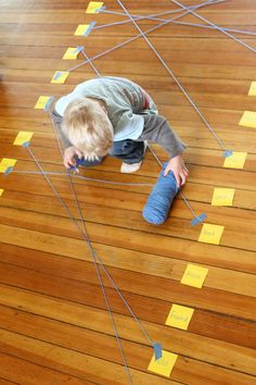 Connect matching pairs of sight words (or letters, numbers, whatever) with string on the floor.