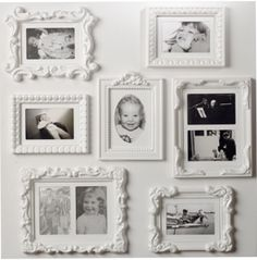 Ornate white frames like this.  Marshall's had a bunch