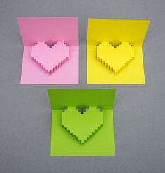 some cool 3D pixelated heart cards and a tutorial how to make them.