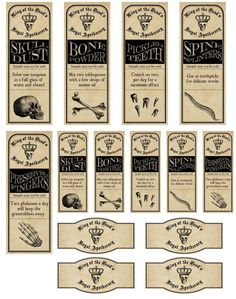 Vintage Inspired Halloween 14 Assorted Bottle Label Stickers Apothecary Labels | eBay