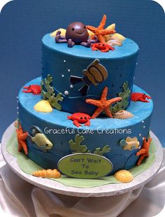Under the Sea Baby Shower Cake is a cute idea for your under the sea baby shower theme.