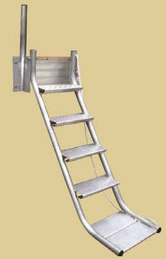 STAIR LADDER • The Easiest Way to Enter and Exit the Water Ever Invented.   • Side-Mount: Requiring no dock surface footprint, even in the up position. • 50° Angle: The ergonomics of the Stair Ladder make its use as effortless as a staircase.