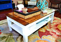 Drab to Fab plank coffee table makeover