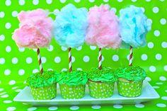 Truffula tree cupcakes for Dr. Seuss's birthday.