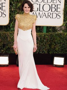 Michelle Dockery killing it in high-necked gold lace. Love those shoulders/sleeves!
