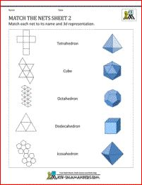 Nets of 3d shapes worksheets - Match the Nets sheet 2