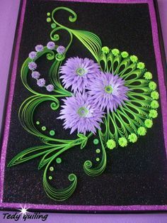 quill flower, lilac flower, awesom color, card