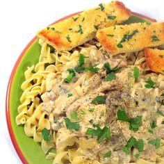 mushroom stroganoff, egg noodl, chicken mushroom