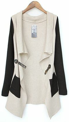 Beige Contrast Black Sleeve Asmmetrical Pocket Cardigan