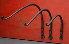 Small Blacksmith Projects | Stationary Plant Hangers - Measurements are from the wall to where the ...