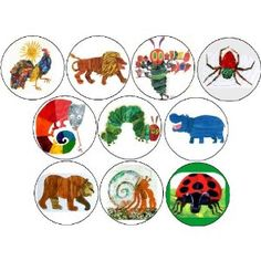 """Set of 10 ERIC CARLE 1.25"""" MAGNETS The Very Hungry Caterpillar"""