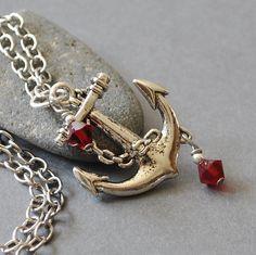 Silver Anchor Necklace Anchor Nautical by MyDistinctDesigns,