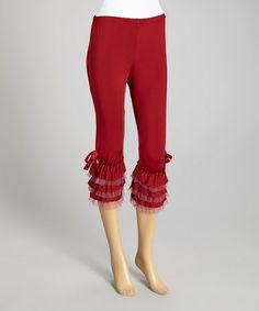 Red Ruffle Capri Pants - Women