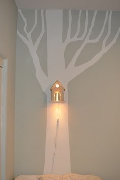 DIY for kids ~bird house lighting in a 'forest' for a child's room Cute!