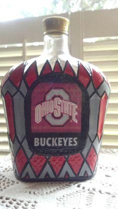 ohio state buckeyes, crown royal, liquor bottles, xmas gifts