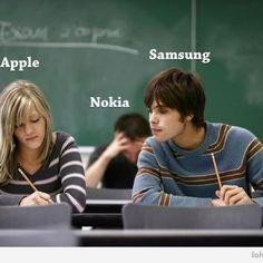 #Apple vs #Samsung vs #Nokia funni tech, dump samsung, iphon, join appl, hey nokiaget, apples, appl win
