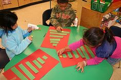 shortest to longest Christmas tree, measuring gifts with cubes, counting cubes for chimney game, and more on this kindergarten blog