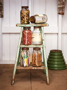 canning jars, step stools, seed, storage containers, shed storage