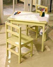 playroom, kid rooms, kids room crafts, craft tables, paper scroll
