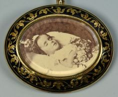 Mourning Brooch with child in casket