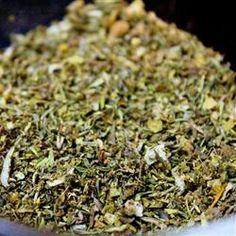 Greek Seasoning: 1 1/2 tsp dried oregano; 1  tsp dried mint;   1  tsp dried thyme;   1/2  tsp dried basil;  1/2  tsp dried marjoram;  1/2  tsp dried minced onion;  1/4  tsp dried minced garlic