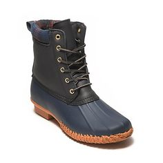 Tommy Hilfiger women's boot. Fearlessly navigate through puddles and slush with our new and improved duck boot. Featuring a leak-proof rubber shell that extends over the ankle fastened with snap-proof laces. Inside, toes stay cozy with a snug padded interior and footbed. <br>• Duck boot silhouette in rubber. <br>• 1 in heel.<br>• Lined, textured outsole, padded interior, pull-strap at heel, signature on heel. <br>• Imported.<br>