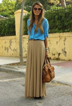 tan beige maxi w/ blue shirt