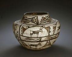 """Vessel w/ Deer showing Red """"Heart Line"""" artwork, - Zuñi Tribe, 1870-1910. http://www.imamuseum.org/art/collections/artwork/vessel-deer-showing-red-heart-line-"""