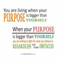 #tipoftheday    You are living when your PURPOSE is bigger than YOURSELF. When your PURPOSE is bigger than YOURSELF, you are willing to fight for what you believe in REGARDLESS of the obstacles.  #purposedrivenlife   #selfmotivation   #inspirational