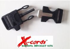 http://www.amazon.com/Starter-Whistle-Paracord-Survival-Supplies/dp/B00J1525J4/ref=sr_1_1?ie=UTF8&qid=1396158705&sr=8-1&keywords=fire+starter+buckle  Fire starter buckles make a great addition to your survival gear, Nice to know that you have one on you at all times.