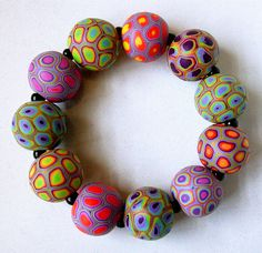 polymer clay beads, polym clay, multicolor bracelet