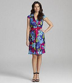 Leslie Fay Floral Surplice VNeck Dress #Dillards