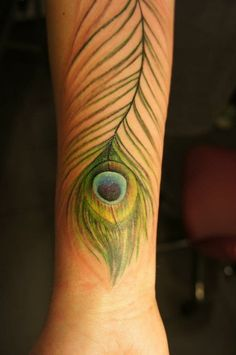 Great full arm tattoo with a nice peacock feather #arm #tattoo