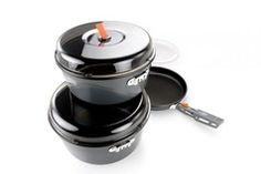 Bugaboo Base Camper Medium Cookset   Exclusive folding gripper locks on to exterior brackets on non-stick coated aluminum pot and frypan to prevent scratching and to provide a secure handle while cooking. Crushproof lid made of BPA-Free resin prevents deformation of your pot/lid and includes an integrated strainer. Thick cutting board provides stable prep surface while isolating the pots for clatter-free nesting. Mesh stuff sack keeps set organized.  Regular price $79.00  Sale Price   $59.00