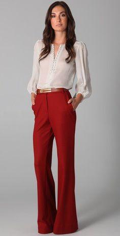 Gorgeous office wear for #Fall #pants #blouse #fashion #fallfashion