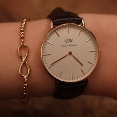 Daniel Wellington watch and infinity bracelet.
