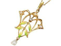 Krementz Art Nouveau Enamel Pearl Pendant