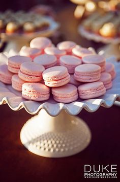 Rose macarons compliment the blush-colored flowers and decor elements woven throughout the celebration.