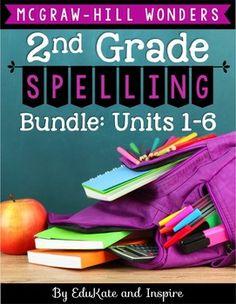 McGraw-Hill Wonders Second Grade Spelling BUNDLE (Units 1-6)