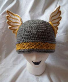 Made to Order - Crochet Valkyrie Helmet Beanie in Gold Trim. $45.00, via Etsy.
