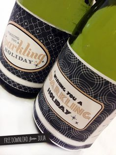 bottle label printable holiday sparkle