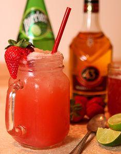 The Backyard Cocktail: Rhubarb Shrub, Licor 43, strawberry, lime
