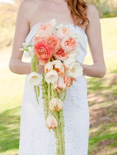 Cascading Tulip, Peony & Amaranthus  oh my my that's beautiful bouquet???