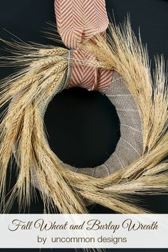 Fall wheat and burlap wreath