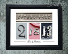 Unframed Number Photography - Wedding Date Colored Numbers, Personalized Wedding or Anniversary Gift Idea, 11x14 Print. $29.99, via Etsy.