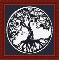blackwork tree of life cross stitch pattern by awestruck2, via Flickr