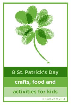 8 St Patrick's Day crafts, food and activities for Kids including this great thumbprint shamrock!  http://www.care.com/child-care-8-st-patricks-day-crafts-food-and-activities-for-kids-p1017-q40113265.html