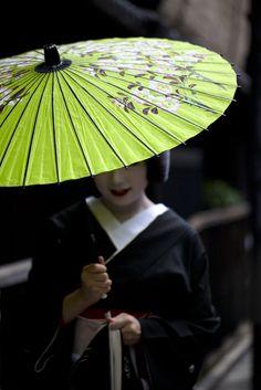 green japanese umbrella