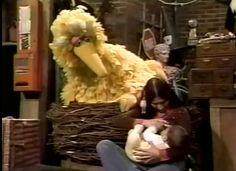 Breastfeeding in public!!! On TV!!!!   Breastfeeding on Sesame Street - 1977 | Community Post: 25 Historical Images That Normalize Breastfeeding