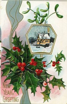 vintage Christmas card with holly